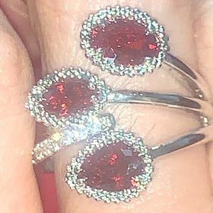 Super design garnet CZ silver filled ring 8